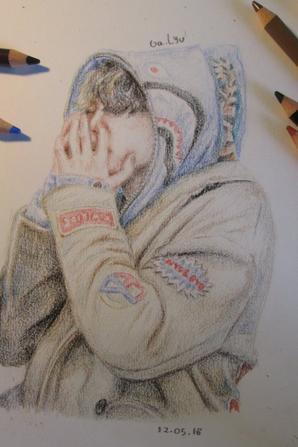 Premier Dessin Réaliste Aux Crayons De Couleur Malgré La