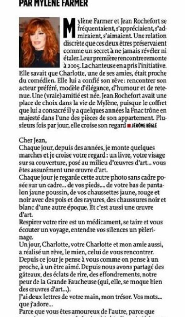 Mylène Farmer  aux obsèques de Jean Rochefort,