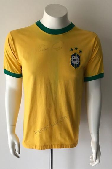Maillot Brésil porté et signé par Edson Arantes Do Nascimento dit Pelé