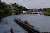 Travaux de liaison du Ravel sous le pont de Jambes.... Baisse du niveau d'eau annoncée pour la semaine du 18 mai (-0,50 m. les 18 et 19/5 et -0,30 m. du 20 au 22/5)