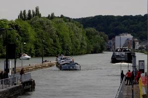 ROMINA, ELLEON et leurs annexes rejoignent Waulsort pour le début de travaux de dragage sur la haute-Meuse...