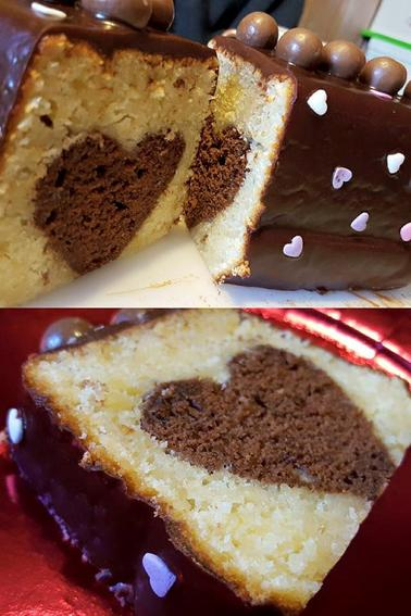 Cake surprise coeur caché, chocolat amande