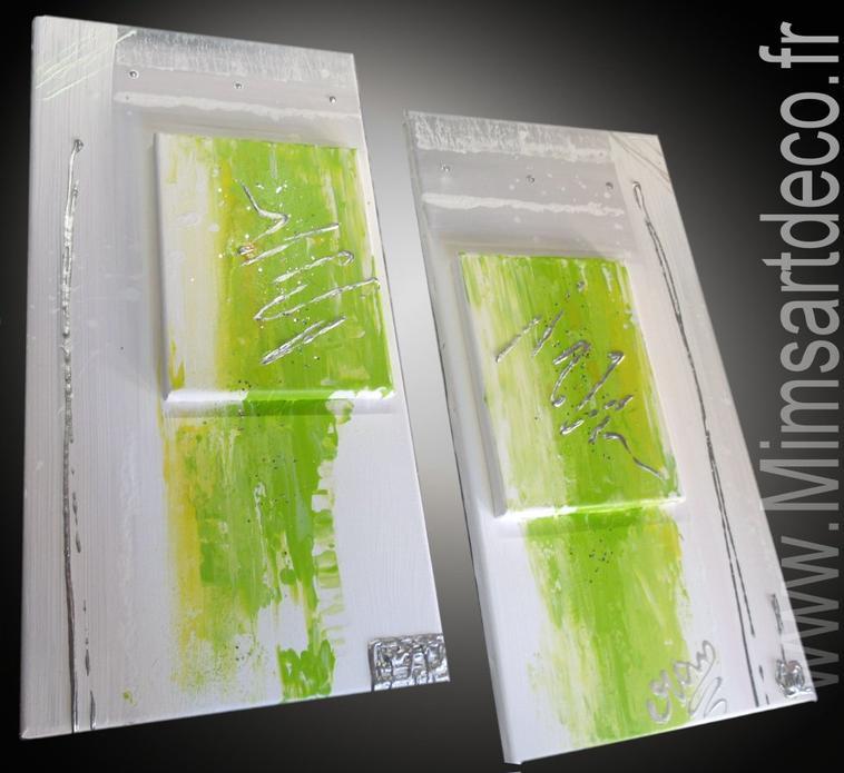 Tableaux abstrait vert anis tableaux abstraits for Peinture murale vert anis