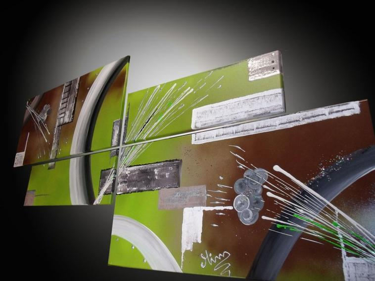 Tableaux abstrait design vert taupe tableaux abstraits - Couleur vert anis et taupe ...