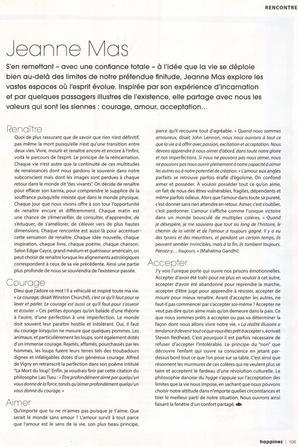 """News presse - Jeanne dans le bi-mensuel """"HAPPINEZ"""" de janvier-février 2021"""