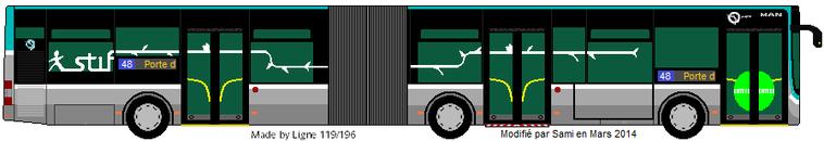 D coupe de bus ratp des lignes 48 et 122 en articul le 48 en lion 39 s city g et le 122 en citaro - Dessiner un bus ...