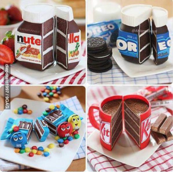 Tartine au Nutella, gâteau forme de pot Nutella, forme Oreo, forme m&m's et forme Kit Kat