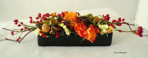 Fleurs et fruits art floral bouquets et compositions florales de - Composition florale avec fruits legumes ...