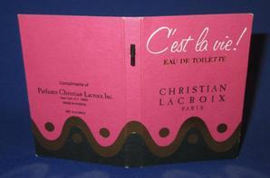 ✿ Lacroix Christian 🌸 C'EST LA VIE ! 🌸  échantillon ✿