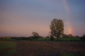 Coucher de soleil et arc en ciel en Argonne