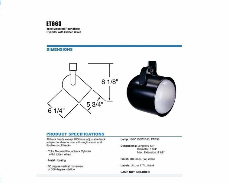 ET663 Line Voltage Track Light-PAR38