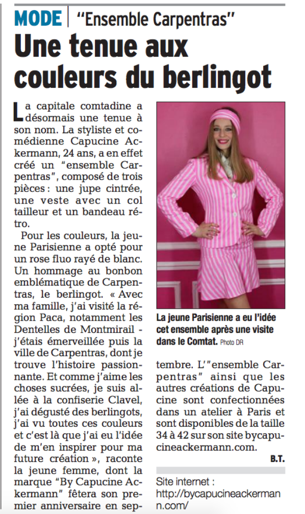 BY CAPUCINE ACKERMANN L'ENSEMBLE CARPENTRAS LE DAUPHINE PRESSE