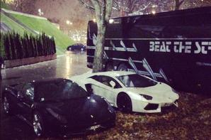 Chris Brown sa lamborghini avant/après son accident!