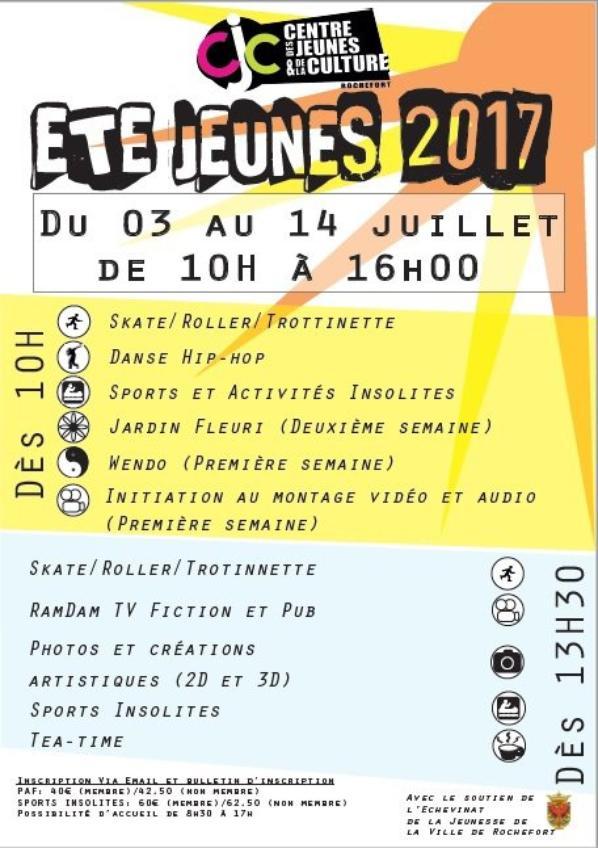 STAGES ROCHEFORT :  ETE JEUNES 2017: des ateliers pour tous les goûts, pour tous les jeunes, créativité, entraide, bien-être, respect, apprentissage,etc...