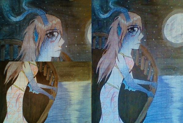 Deux Dessins Fille Triste Sous La Neige Fille Mélancolique