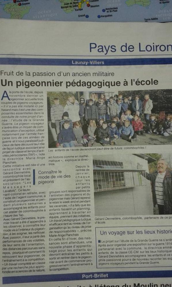 Reportage sur Courrier de la Mayenne du colombier pédagogique a Launay(53)