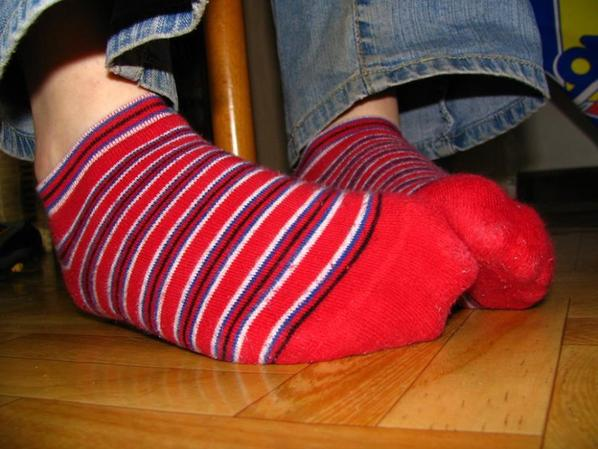 Mes chausseetes rayées rouges