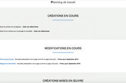 Nouvelle présentation de la page d'accueil et des pages Planning de travail et Blagues & devinettes