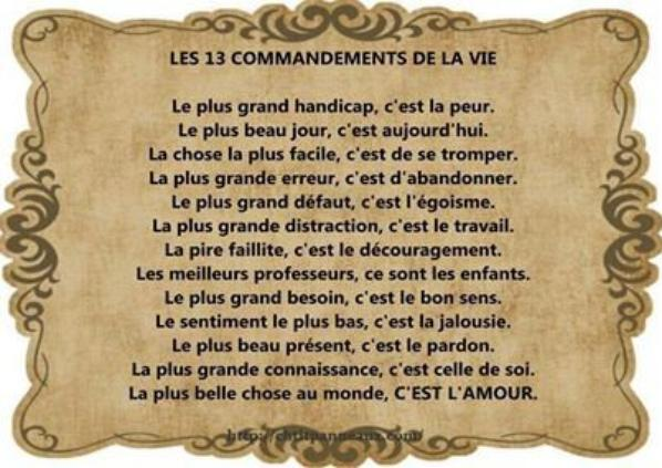 les 13 commandement de la vie