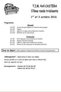 17ème RANDO DU T.I.M. 4X4 CASTERA LES 1 ET 2 OCTOBRE 2016