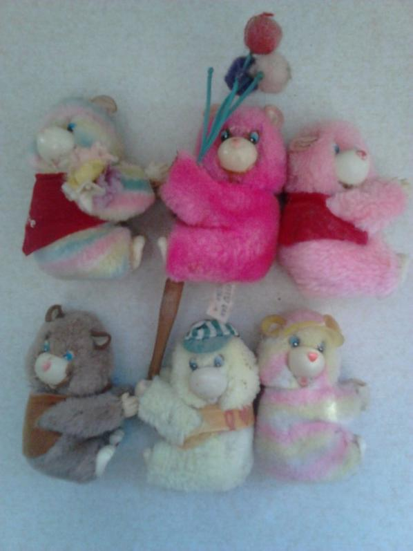 peluches pinces bisounours, popples etc...