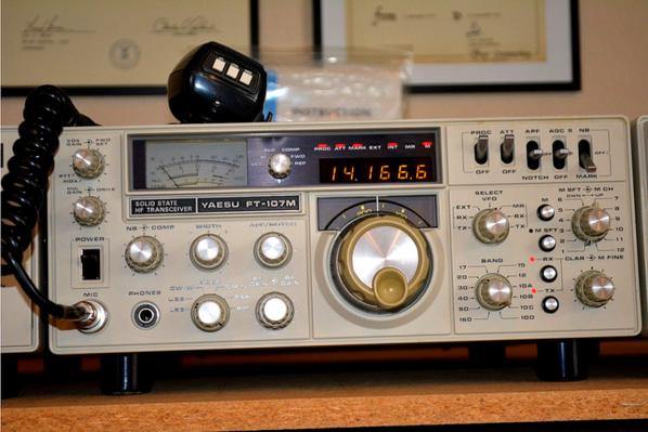 Yaesu FT-107M Tranceiver, FC-107 Antenna Tuner, and SP-107P