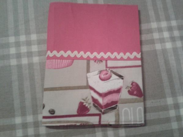 cahier habillé de tissu et tablier assorti
