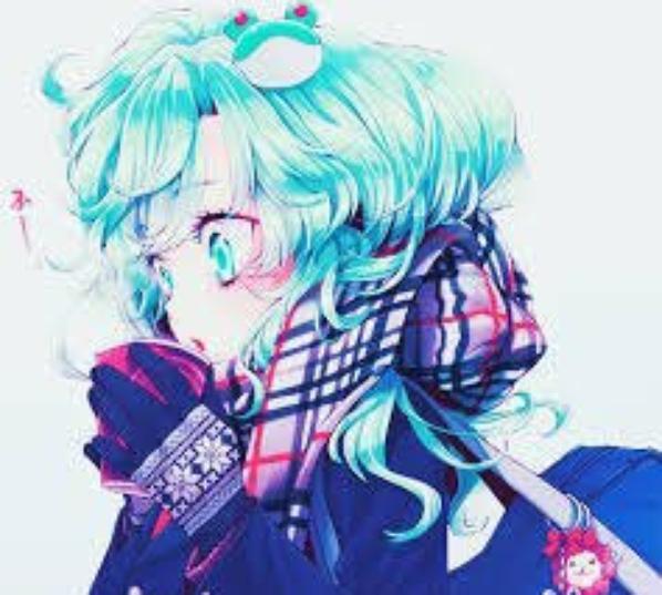 Images fille cheveux bleu