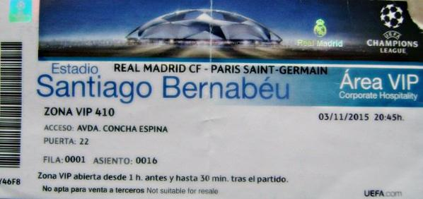 REAL MADRID PSG 2015-2016 CHAMPIONS LEAGUE