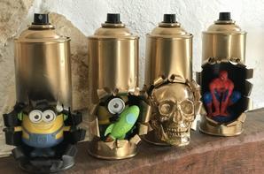 Sculptures avec bombes de peintures par Falko