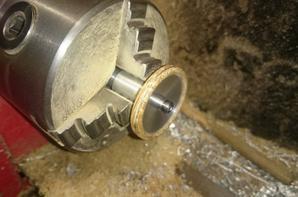 Volant de commande vapeur aluminium et chêne, rivets Ø0.6mm laiton
