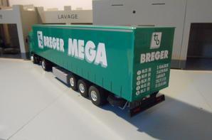 tracteur daf 95xf de 430ch avec semi-romorque des tp breger mega de chez eligor au 1/43.