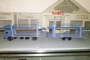 camion porte-voitures saviem sm10 man de 170ch des tp dagobert avec sa remorque au 1/43