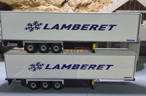 deux différentes remorques lamberet sr2 superbeef + groupe thermo king eligor au 1/43.