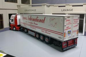 tracteur scania r 420semi-remorque frigo des trs james international modèle eligor au 1/43.