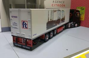 semi-remorque frappa frigo carrier atteler a se superbe scania s brm modèle eligor au 1/43.