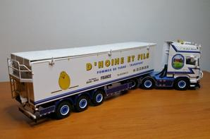 scania streamline topline 6x2 twin steer + belt trailer - 3axle transport d'hoine modèle wsi au 1/50.