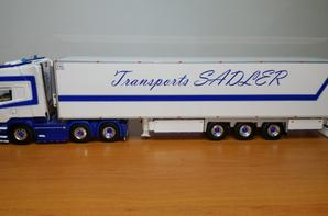 scania streamline topline avec semi-remorque frigo thermo king transports sadler modèle wsi au 1/50.
