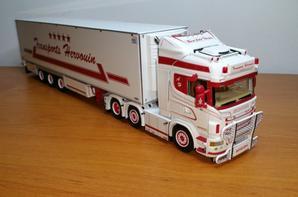 scania r highline 6x2 semi-remorque chereau frigo thermo king transports hervouin modèle wsi au 1/50.