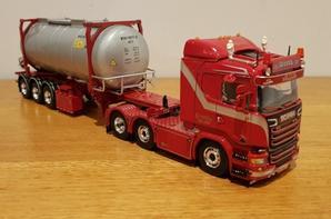 scania r 6x2 semi-remorque container citerne transport weeda modèle tekno au 1/50