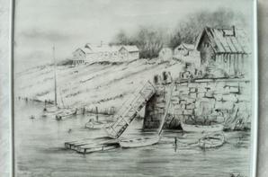 A gauche paysage marine et a droite ancien moulin des Attaques