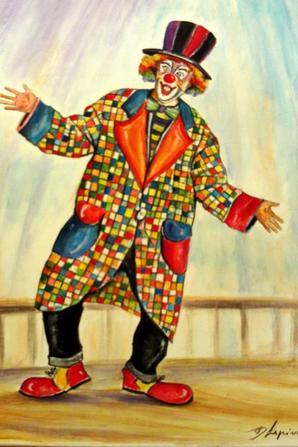 Clowns sur toile 40x50cm (acrylique)