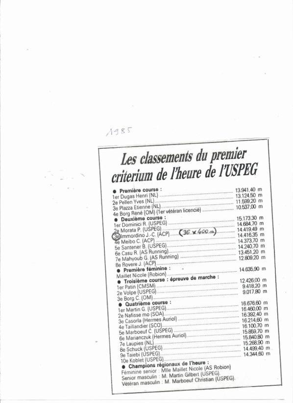 Résultats divers année 1985 gracieusement fournis par J.C IMMORDINO