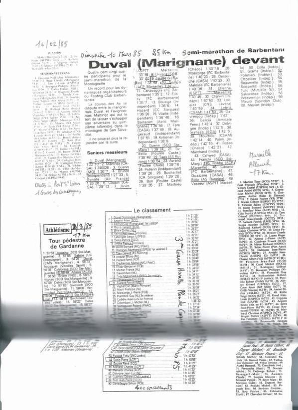Résultats 1985