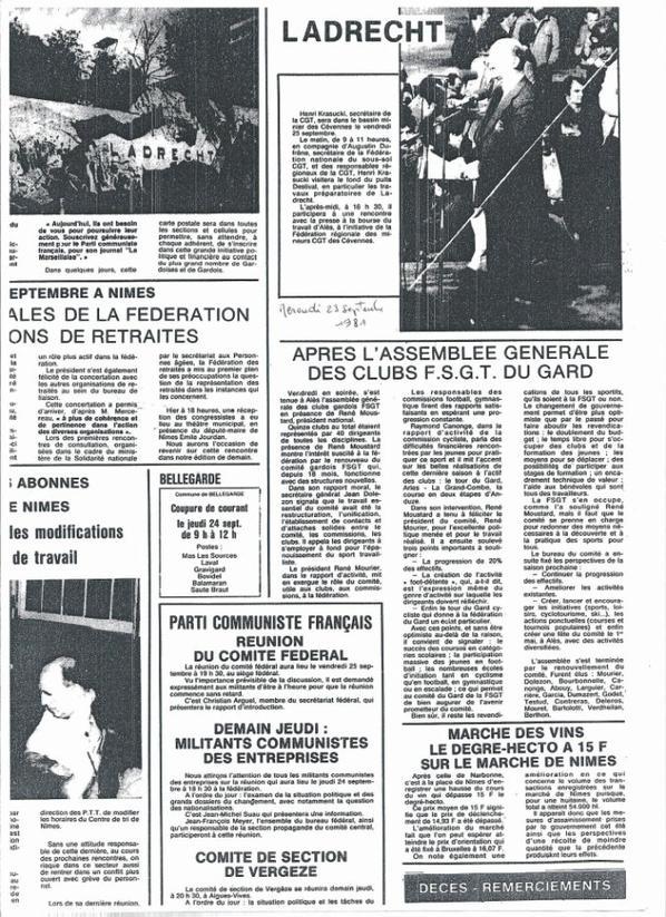 Article du mercredi 23 septembre 1981 dans La Marseillaise avant la course de Ladrech