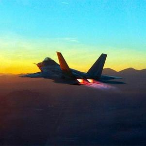 F-22 in supersonic flight