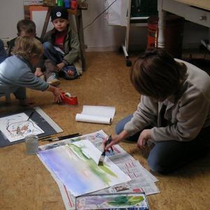 Thibaut peint comme maman