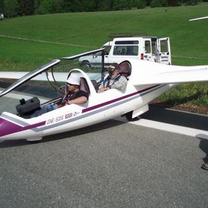 moi prêt pour un vol En Planeur