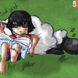 Moi, écrivant la suite, avec mon mouton.