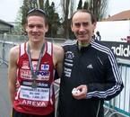 Médaille aux France de 10 km. Avec Philippe, mon entraîneur.